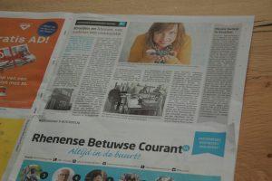 Artikel over Scent & Spice in de Rhenense Betuwse Courant
